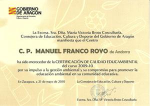 CERTIFICACIÓN DE CALIDAD EDUCAMBIENTAL